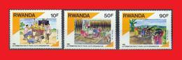 Rwanda 1991, Yv. 1384-6-1387 Rural Education Forgeage Forging Irrigation Artisanat Crafts MNH ** - Rwanda