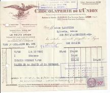 Vp100 Chocolaterie De L' Union 1942 Timbre Fiscal LYON Ste Sainte Foy L' Argentiere - Alimentaire