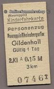 Pappfahrkarte  (DDR Reichsbahn)--> Neuruppin Rheinsberger Tor - Gildenholl - Bahn