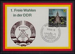 A0891 DDR 18-03-1990, First Free Election In DDR, Souvenir Card - DDR