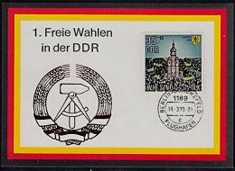 A0894 DDR 18-03-1990, First Free Election In DDR, Souvenir Card - DDR