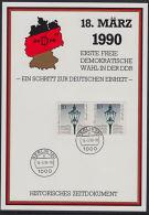 A0895 DDR 18-03-1990, First Free Election In DDR, Souvenir Card - DDR