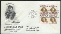 US  1960   8c Guiseppe Garibaldi  Champions Of Liberty Block On  Artcraft FDC - Premiers Jours (FDC)