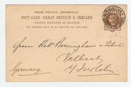 GB ENTIER POSTAL BIRMINGHAM 28/1/1888 POUR GERMANY ALLEMAGNE - WM MUTZELL  - 2 Scans - - Interi Postali