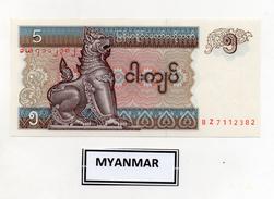 Myanmar (Birmania)  - Banconota Da 5 Kyats -  Nuova -  (FDC2397) - Myanmar