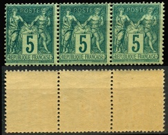 France N° 75 Bande De 3 Neufs ** - Cote 180 Euros - TB Qualité - 1876-1898 Sage (Type II)