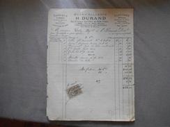 LIMOGES H.DURAND QUINCAILLERIE FABRIQUE DE ROMAINES USINE HYDRAULIQUE AUX FEINIERES FACTURE DU 2 8bre 1884 - France
