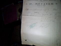 Facture Chaussures En Tout Genre Paul Metayer A Roullié Annee 1920 - United States