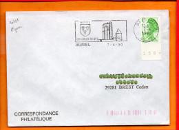 """ALLIER, Huriel, Flamme SCOTEM N° 10751, """"son Donjon Du 12e"""", 7/4/1990 1er Jour De La Flamme - Marcophilie (Lettres)"""