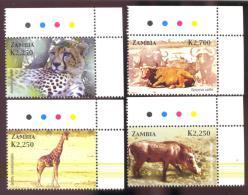 STAMPS FROM ZAMBIA MINT N H SCOTT # 1039-42  ANIMALS - Zambia (1965-...)