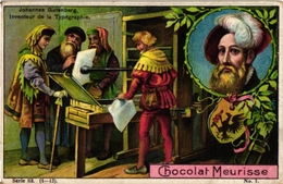 12 Cards Chocolat Meurisse Inventors Gutenberg ANTWERP Senefelder Daguerre Papin Jacobi Gauss & Weber Reis Alfred Nobel - Chocolate