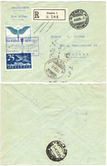 85) SVIZZERA LETTERA RACCOMANDATA VIA AEREA GENEVE - MILANO 3.10.1925 - Posta Aerea