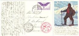 87) SVIZZERA CARTOLINA VIA AEREA BELLINZONA - ZURICH 9.5.1940 FELDPOST + ANNULLO CROCE ROSSA - Posta Aerea