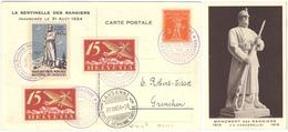 88) SVIZZERA CARTOLINA VIA AEREA LAUSANNE - GRENCHEN 31.8.1924 LA SENTINELLE DES RANGIERS - Posta Aerea