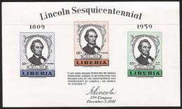 B)1959 LIBERIA, ABRAHAM LINCOLN, 150TH ANNIV. OF THE BIRTH OF ABRAHAM LINCOLN, 385-386 A152, SOUVENIR SHEET OF 3, MNH - Liberia