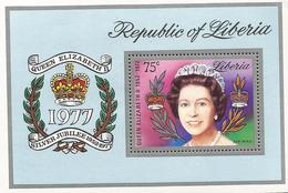 B)1977 LIBERIA,  QUEEN ELIZABETH II,  25 YEARS OF THE KINGDOM OF THE QUEEN ISABEL,  SOUVENIR SHEET,MNH - Liberia