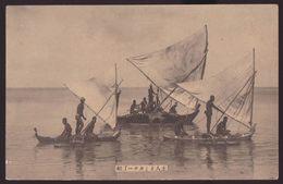 Saipan - Native Peoples On Their Canoes, Saipan Island, Japan's Vintage Postcard - Mariannes
