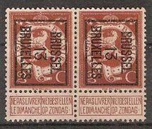 PELLENS Cijfer Nr. 109 Voorafgestempeld TYPO Nr. 41 Positie B BRUSSEL 13 BRUXELLES (2x) + Randinsc. ; Staat Zie Scan ! - Typo Precancels 1912-14 (Lion)