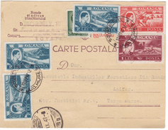 #6732 Romania, Company Postcard Mailed 1947 Inflation, Overlapped Stamps, Wood-working Sovata - Covers & Documents