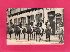 31 HAUTE GARONNE, Guide Luchonnais à Cheval, Animée, Mairie, Commissariat, 1908, (Labouche) - Luchon