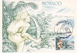 "Carte Maximum MONACO Premier Jour 1987  Bernardin De Saint Pierre "" Paul Et VIRGINIE "" - Maximumkarten (MC)"