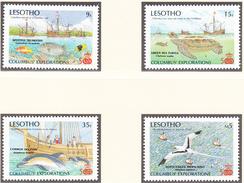 LESOTHO - 1988 - C.Colomb / Bateaux / Animaux - Yvert 746/749 + BF 50 Neufs ** - Lesotho (1966-...)