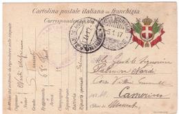 STORIA POSTALE - ITALIA - ANNO 1917 - REGGIMENTO FANTERIA - POSTA MILITARE VI DIVISIONE - VISTO PER CENSURA - CAMERINO - - Posta Militare (PM)