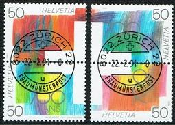 PAIRES VERTICALES SE-TENANT TIMBRES OBLITERES 1er/J.22.2.1991. C/.S.B.K. Nr:Z95/Z96. - Se-Tenant