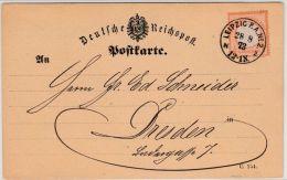 DR - 1/2 Gr. Gr. Brustschild, Postkarte K1 Leipzig PA No.2 - Dresden 1873 - Allemagne