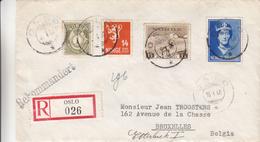 Norvège - Lettre Recommandée De 1940 - Oblit Oslo - Exp Vers La Belgique - Bruxelles Et Etterbeek - Reine Maud - Rennes - Norway