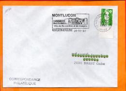 """ALLIER, Montliçon, Flamme SCOTEM N°11244, """"ville De Rencontres Et De Congrès"""" - Marcophilie (Lettres)"""