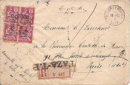 Recommandé De Taza TP Pour Paris, En 1907 - Morocco (1891-1956)