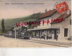 01 -  DIVONNE LES BAINS - ARRIVEE DU TRAIN DE FRANCE- RARE CARTE COLORISEE - GARE - Divonne Les Bains