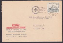 """Croix-Rouge Allemande Dresden MWSt. 1962  """"10 Jahre DRK In Der DDR"""" Deutsches Rotes Kreuz, KONSUM Warenhaus Kesselsdorfe - DDR"""