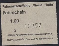 """Fahrgastschifffahrt """"Weiße Flotte"""" Stralsund, Fahrschein, Billett, Ticket, 1,00 DM, Ow 1992 - Schiffstickets"""
