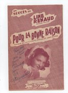 """LINE RENAUD Autographe Sur Partition De """" Pour La Bonne Raison """" Gasté Et Boyer - Scores & Partitions"""