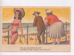 CPA.Illustrateur Non Signé.Humour.Couple Au Bord De Mer Et Jolie Fille En Maillot. - 1900-1949