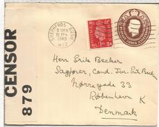 REINO UNIDO ENTERO POSTAL SEPHERDS BUSH 1940 A DINAMARCA CON CENSURA - Storia Postale