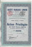 Action Société Française Lemoine - Industrie