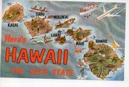 REF 265  : CPSM HAWAI Contour Des Iles Molokai Kauai Hawaii Lanai Maui - Etats-Unis