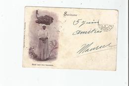 SURINAME MEID MET BOS BANANEN 1915 - Surinam