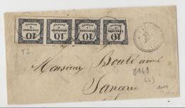 Taxe N°2 - 10c Typo - Bande De 4, Sur Devant De Lettre Partiel Du 4ème échelon - CaD Perlé T22 Vailly Sur Sauldre (1862) - Taxes