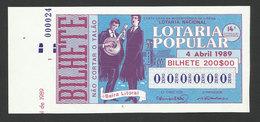 Portugal Loterie Populaire SPECIMEN Fado De Coimbra Musique Guitare 04.04.1989 RARE Lottery Music Guitar - Lottery Tickets