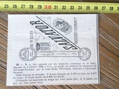 MARQUE DEPOSEE 1888 BIERE  SALVATOR BRASSERIE  WILLIAMS KUHN BRASSEUR A CLERMONT FERRAND - Vieux Papiers