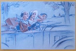 Litho Crayon Aquarelle Art Nouveau  Illustrateur PAVIS N S. FEMME FILLE Dans Voiture Decapotable Publicite PHEBEL - Advertising