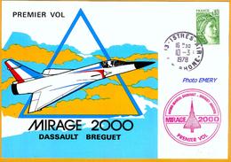 France EvAv-57 Cachet à Date Istre-Air 1er Vol Mirage 2000, 10.03.1978           La Photo Est Celle Du Produit Fourni. - Sonstige