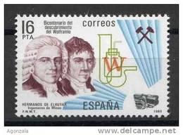 TIMBRE ESPAGNE NOUVEAU 1983  FRÈRES ELHUYAR INGÉNIEURS DE MINES - DÉCOUVERTE DU WOLFRAMIO - Minerales