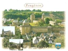 35 - A L'entrée De La Bretagne... Fougères - Multivues : Le Château Fort Médiéval, église St Léonard, église St Sulpice - Fougeres