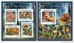 NIGER 2016 - Mushrooms, M/S + S/S. Official Issue - Paddestoelen