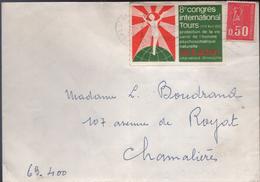 Lettre De 33 St Germain Du Puch 19-3 1973 LO O= Avec La Vignette Du 8e Congrès Internationa Tours Vie Et Action - Variedades Y Curiosidades